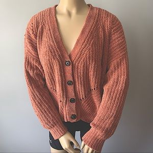 AMERICAN EAGLE SALMON PINK BUTTON UP KNIT SWEATER